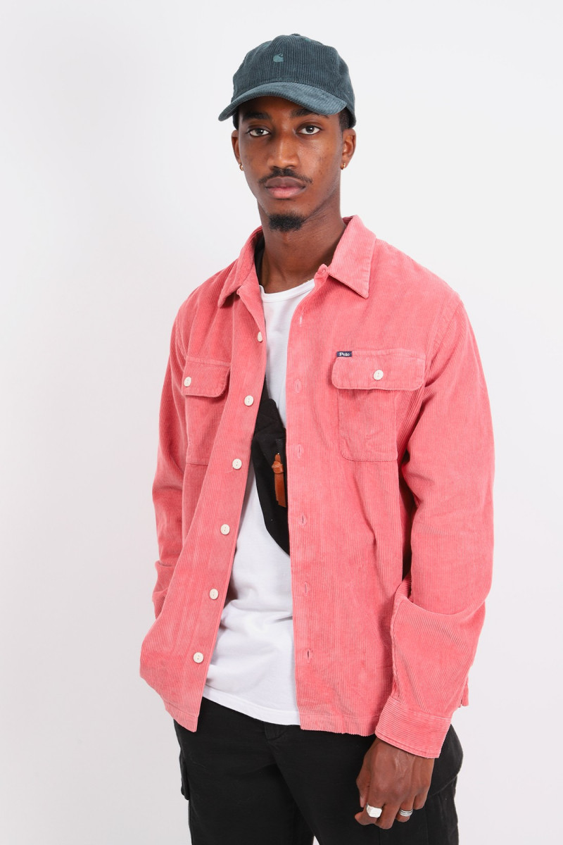 Classic fit cord overshirt Pink