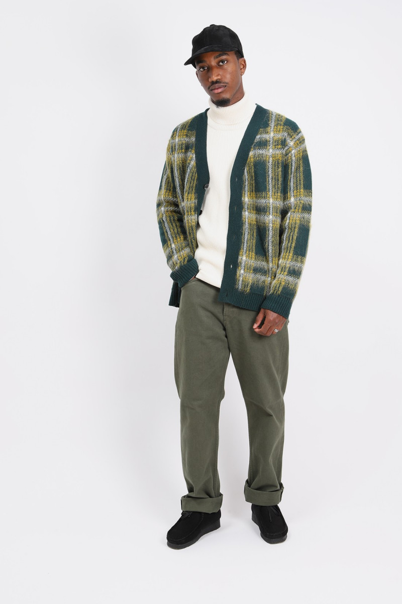 Cardigan over p's check mohair Green