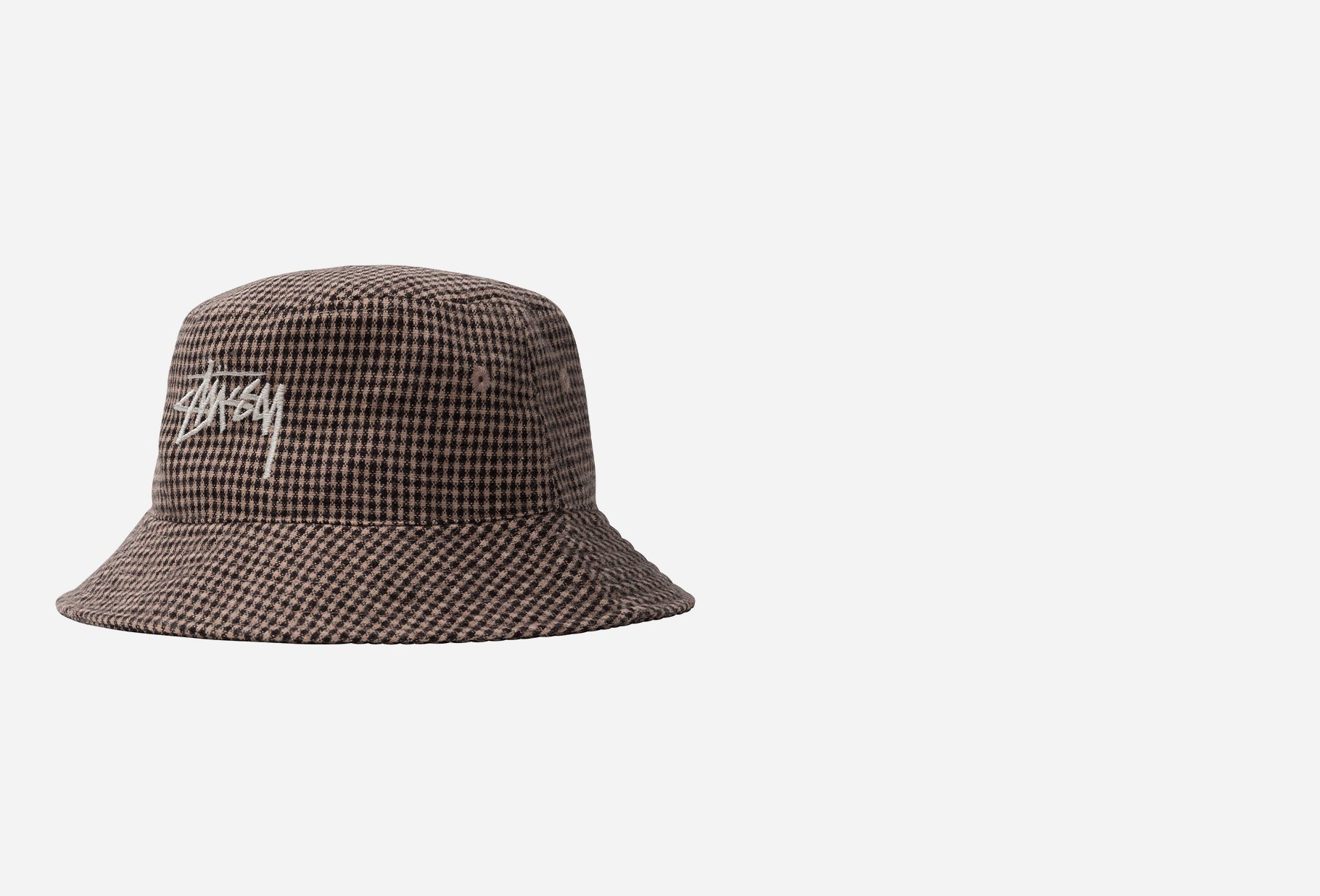 STUSSY / Wool check big stock bucket Brown