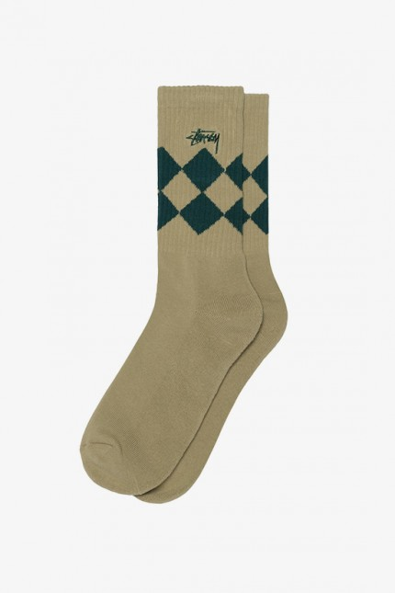 Argyle jacquard crew socks Beige