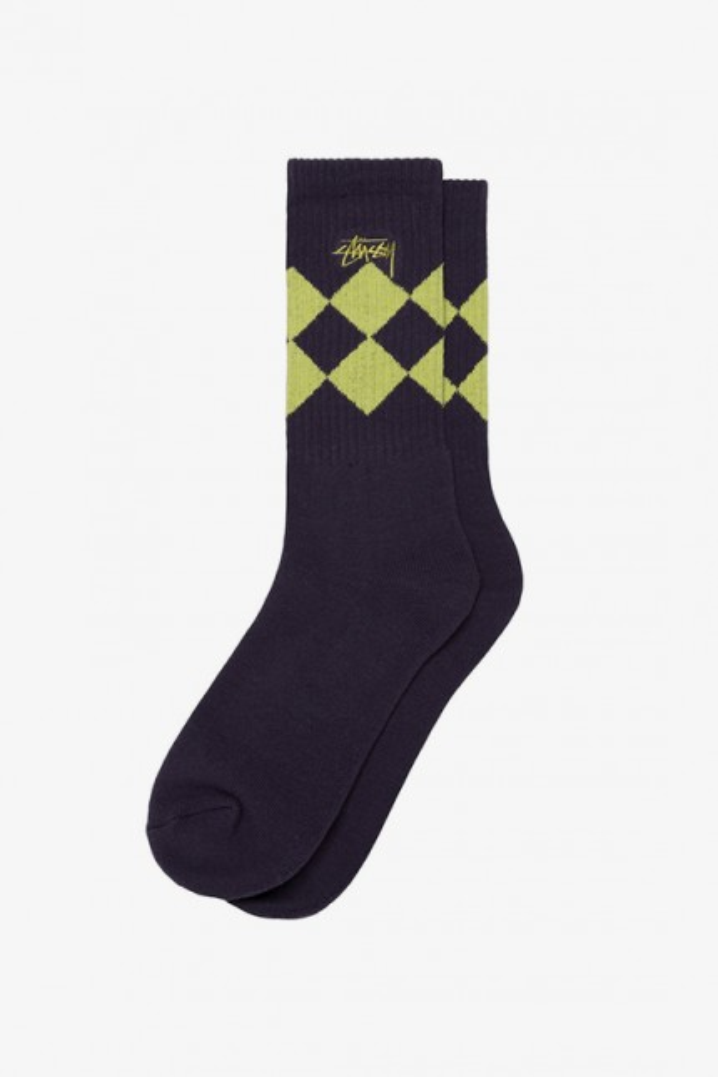 Argyle jacquard crew socks Purple