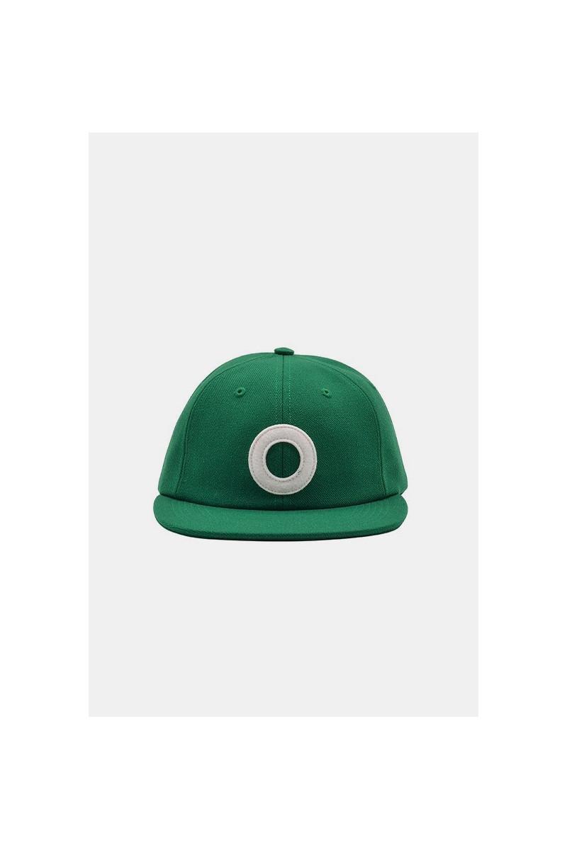 O 6 panel hat Dark green white