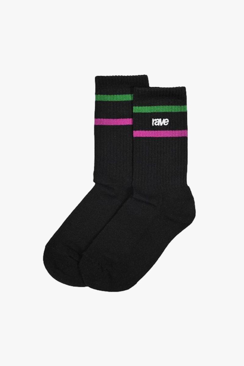 Rave logo socks x 3 Black