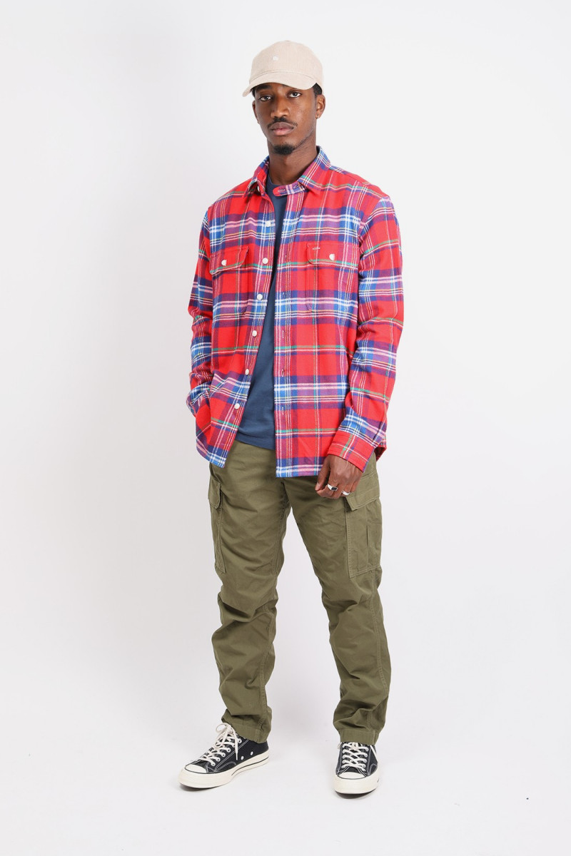Classic fit flannel overshirt Multi red