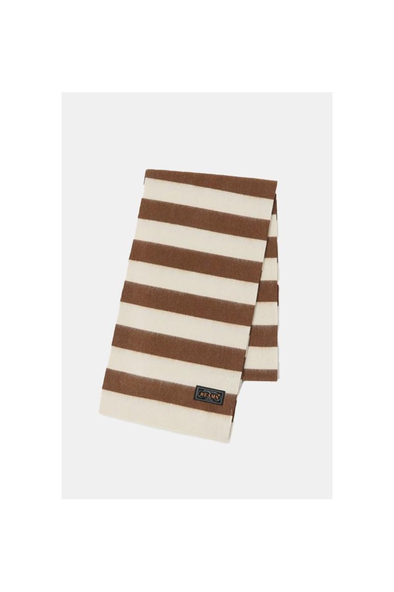Cashmere scarf stripe Brown/ off white