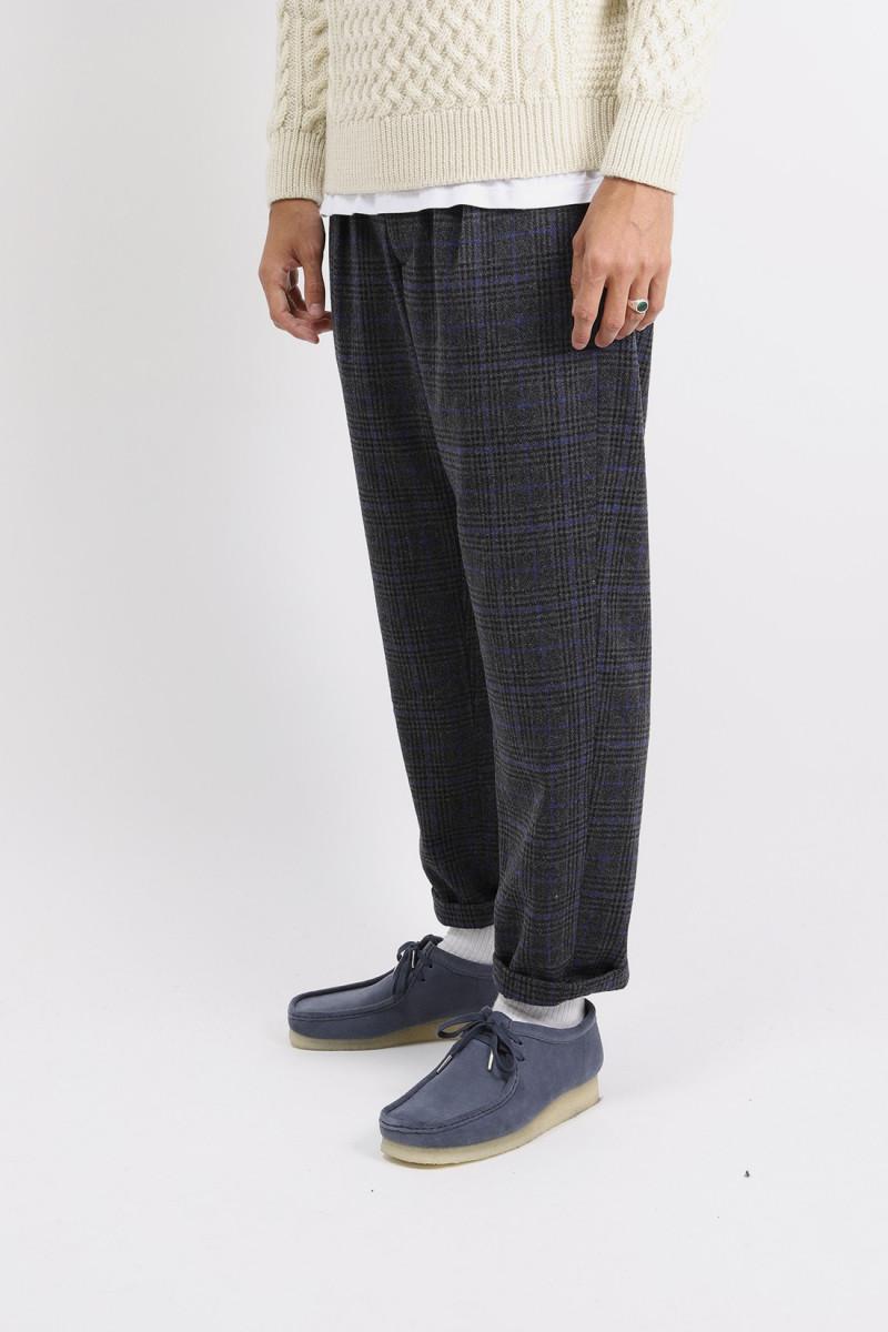 Carlyle pant poly wool plaid Dark grey blue
