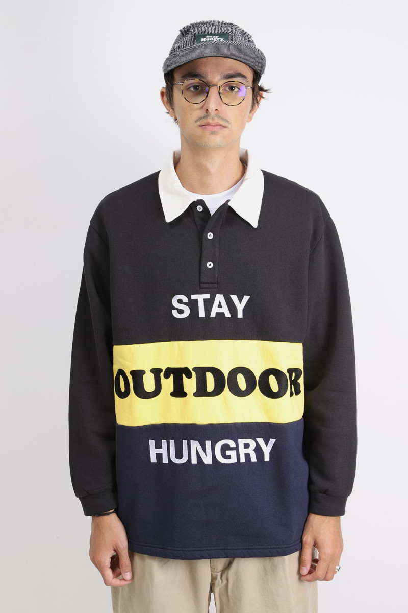 Outdoor rugby polo Black/yellow