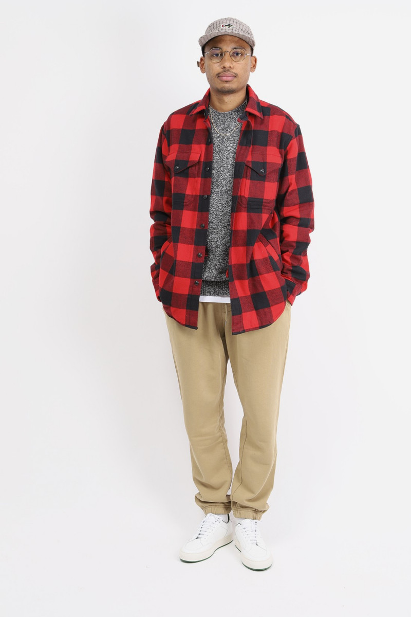 Classic fit holiday overshirt Red check