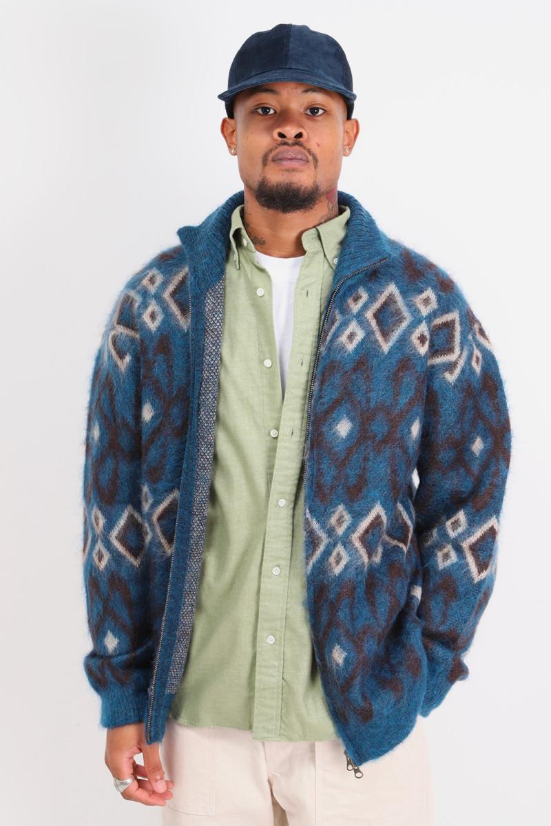 Zip knit blouson geometric 5g Blue