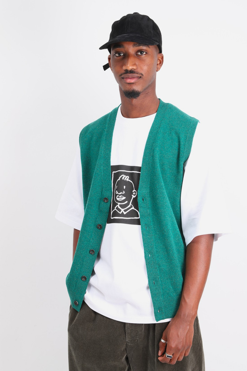 Button knit vest solid Green