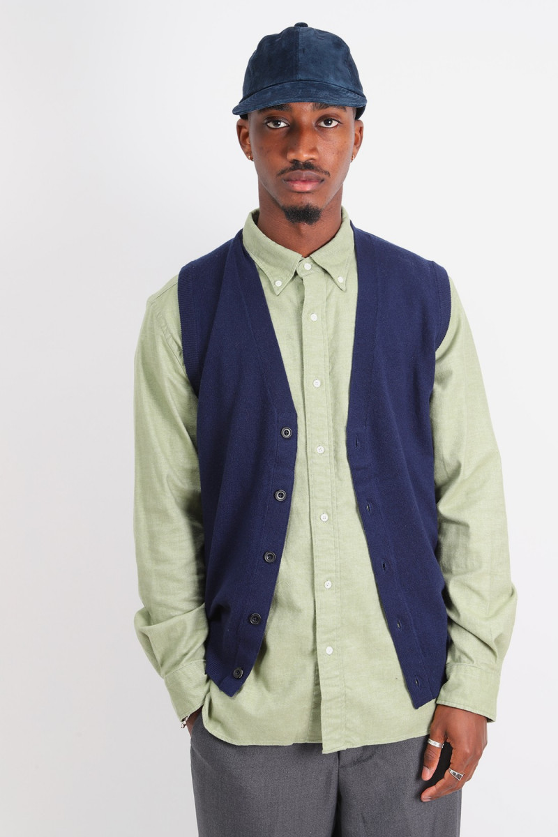 Button knit vest solid Navy