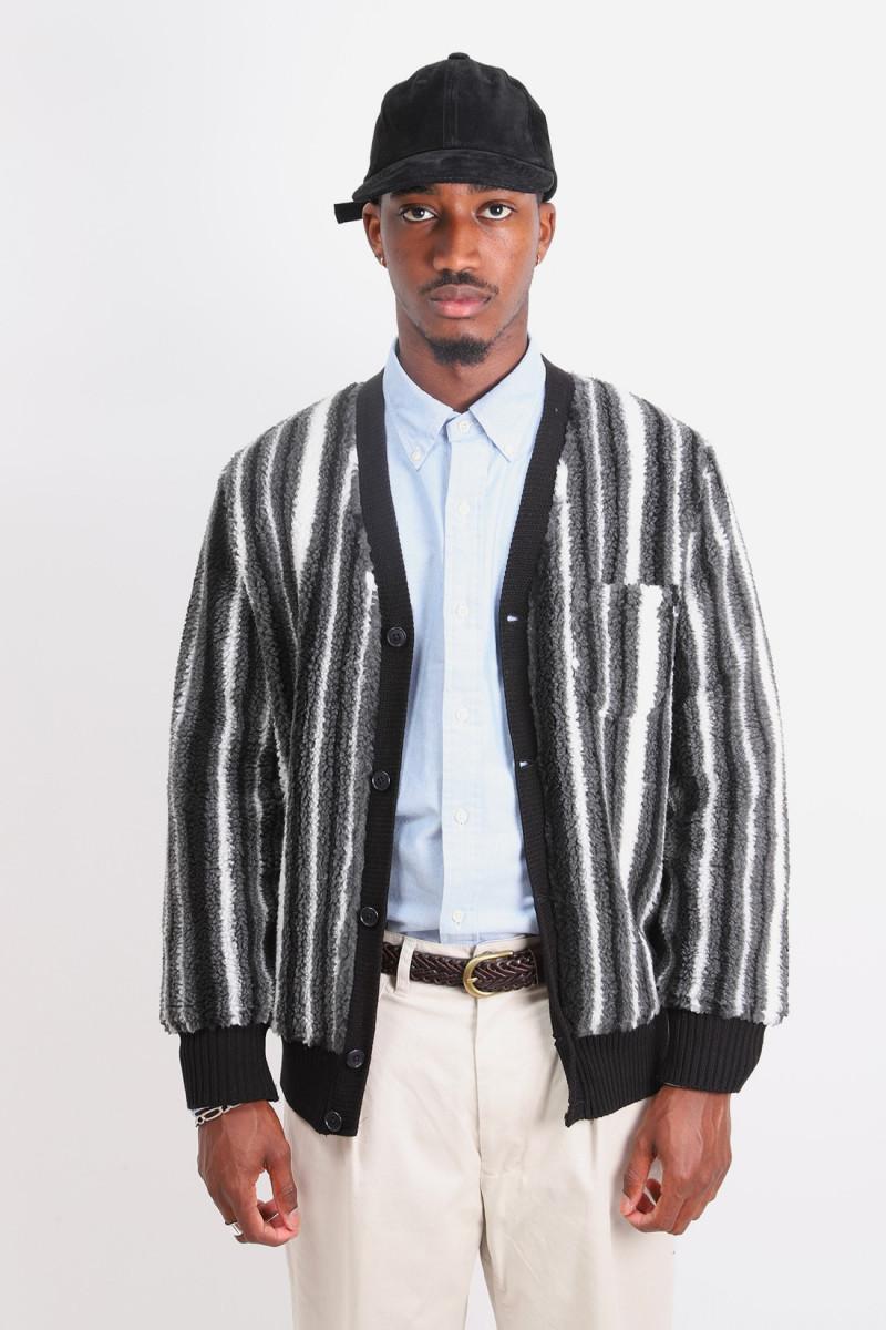 Fleece cardigan stripe Black