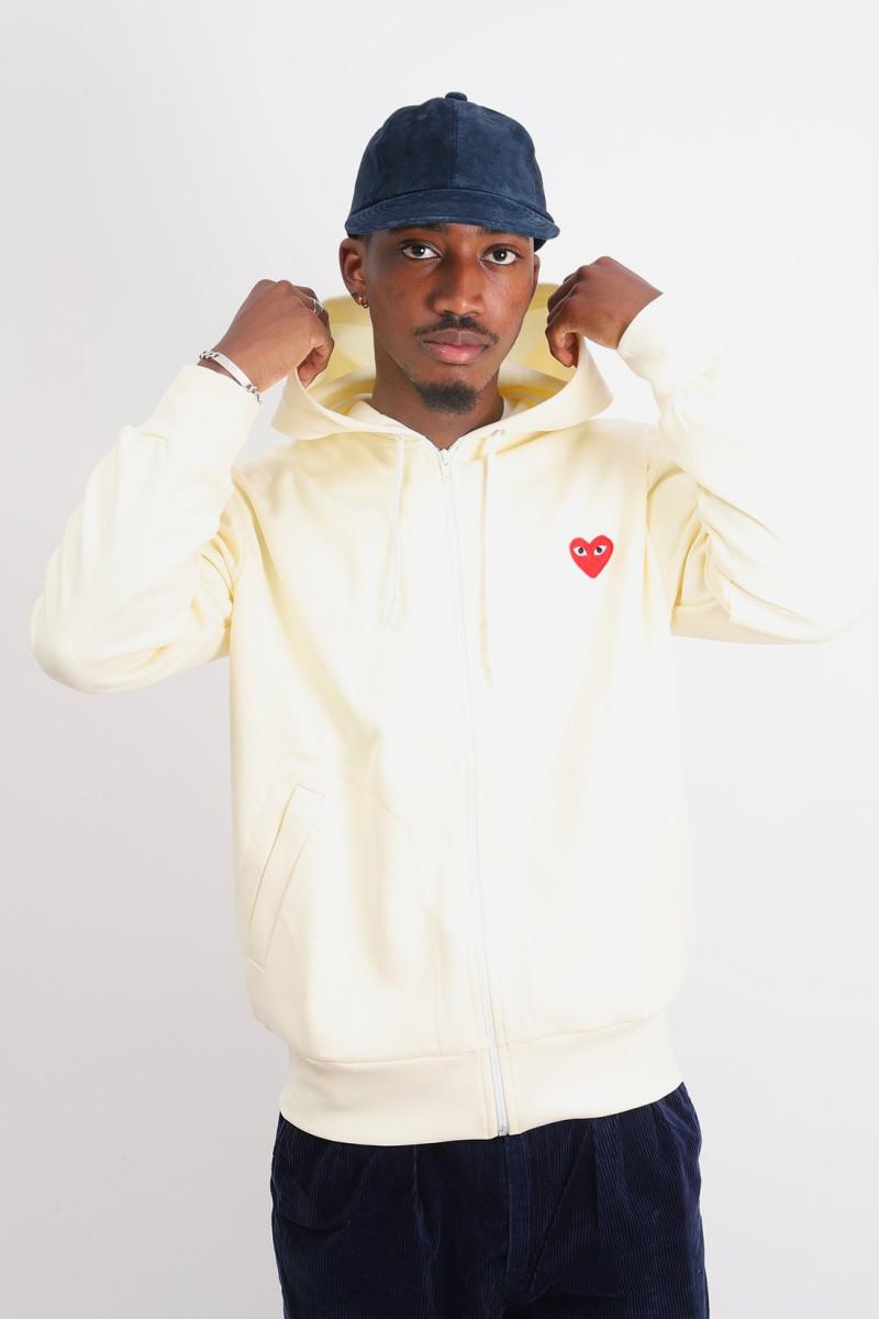 Play hooded zipped sweatshirt Ivory