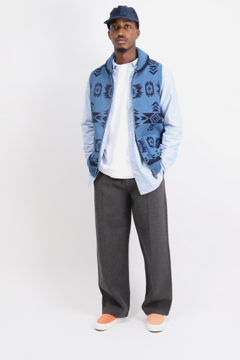 Zip knit vest jacquard Indigo