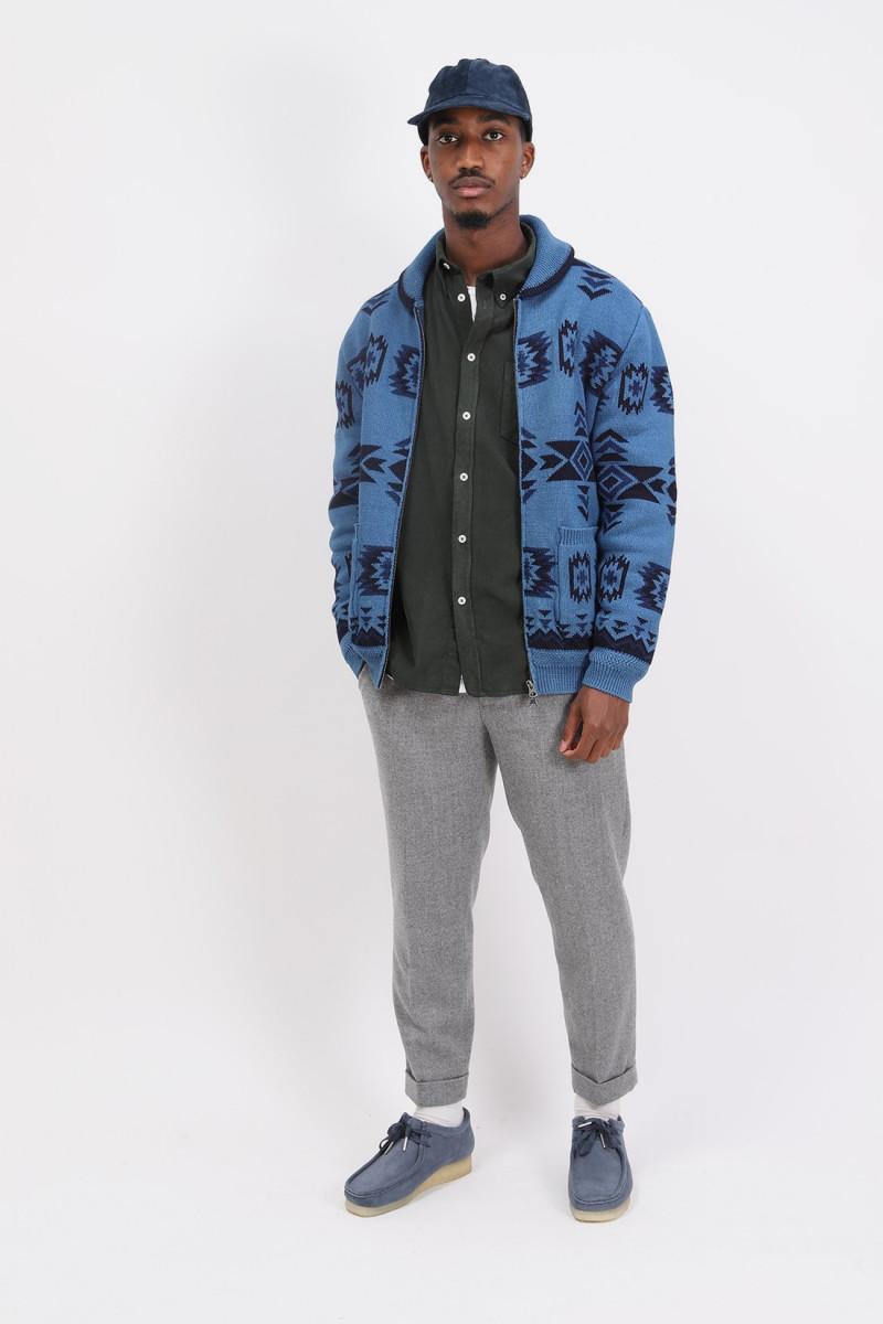 Zip knit cardigan jacquard Indigo