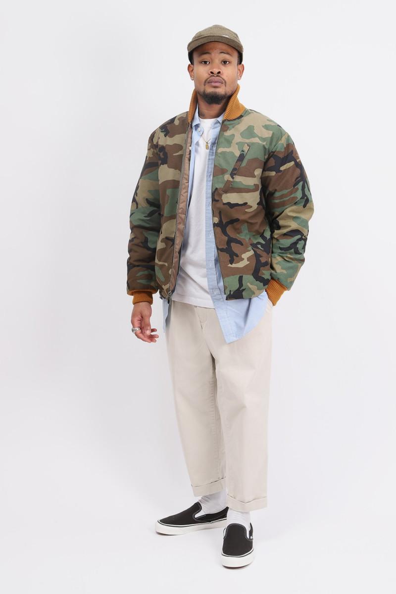 Batten-down deck jacket Woodland camo