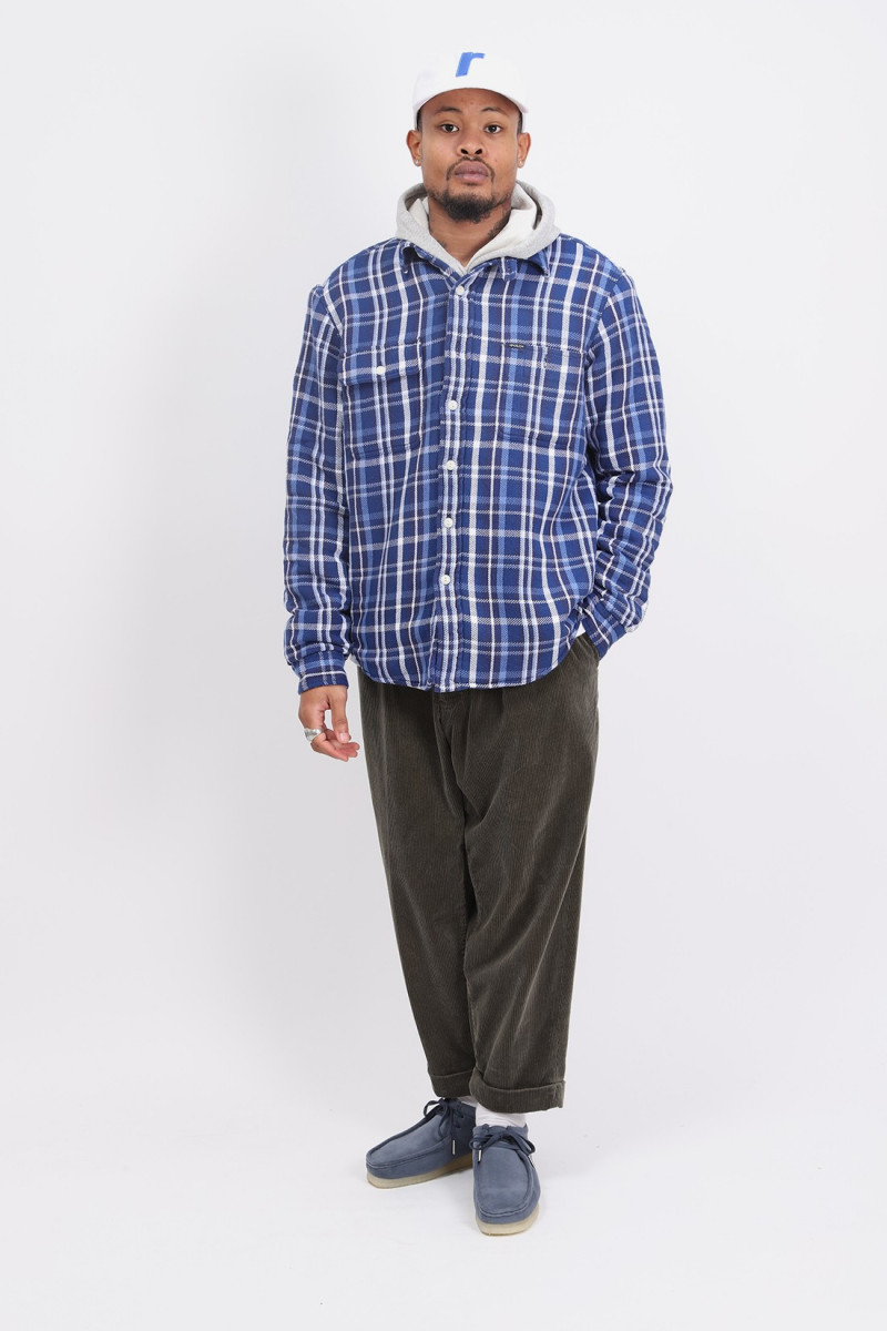 Classic fit overshirt pile Blue check
