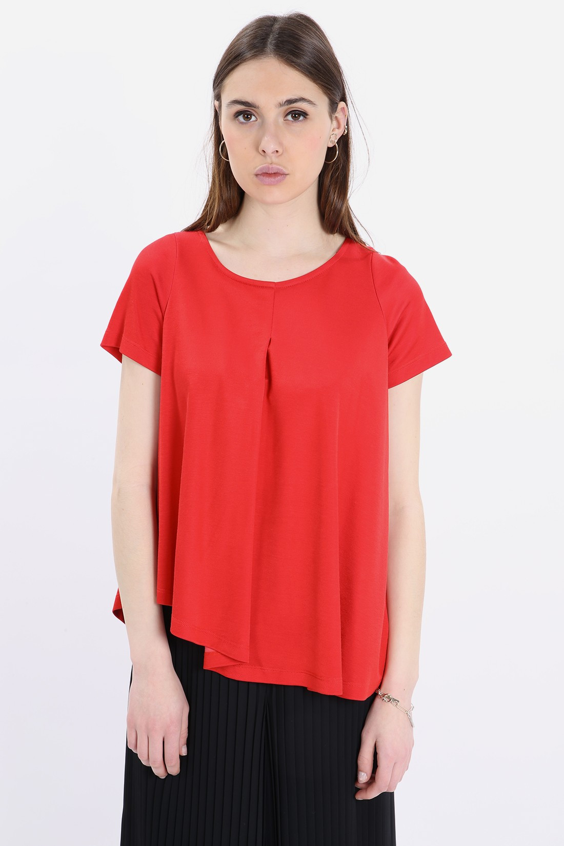MM6 MAISON MARGIELA FOR WOMAN / Unbalanced red pleated top Red