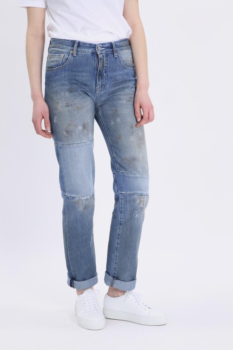 Dirty wash spots pants Indigo stone wash