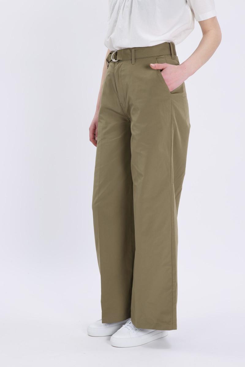 Gretchen wide leg trouser Dark khaki