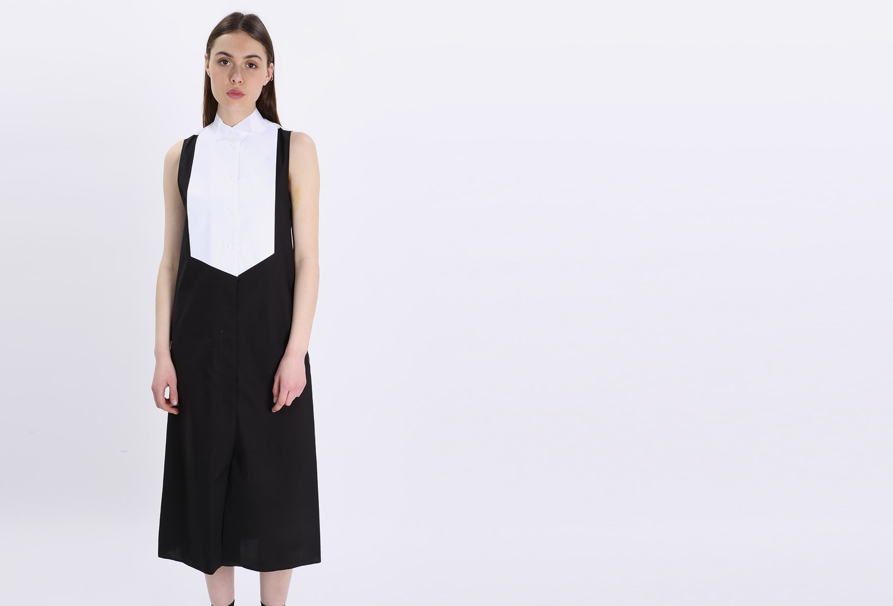 Dress without sleeves Black/white