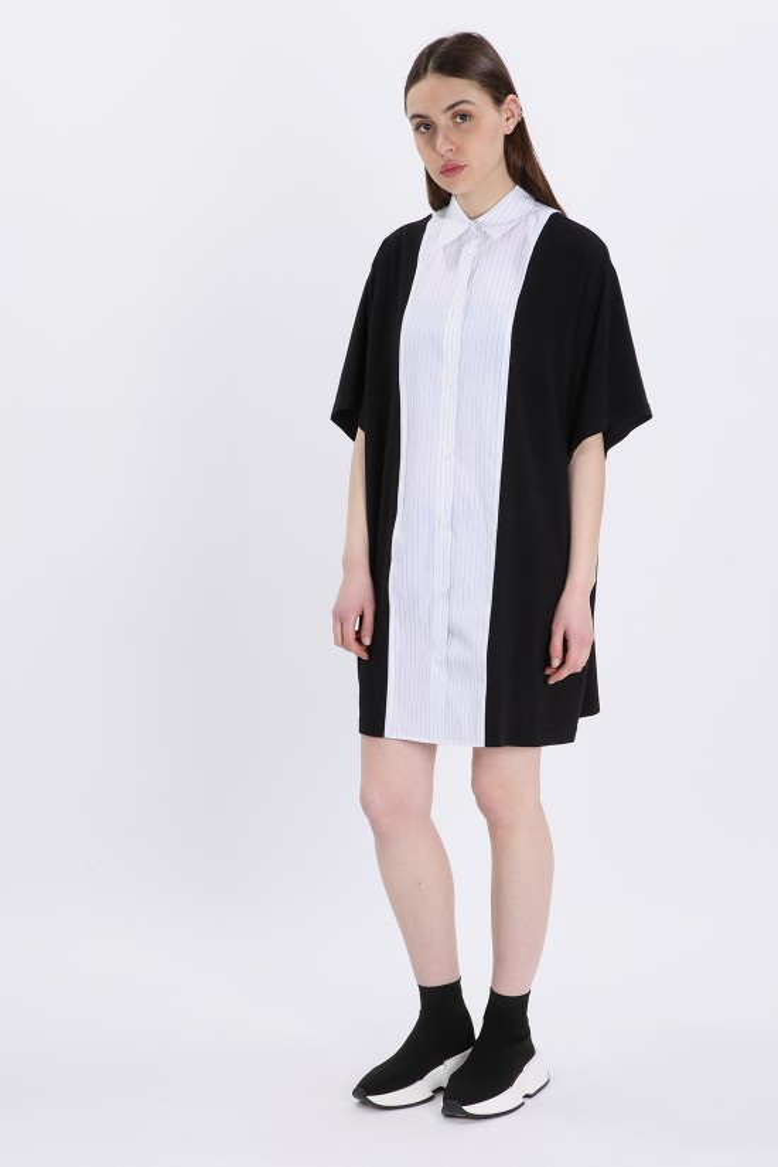 MM6 MAISON MARGIELA / Striped short dress Black