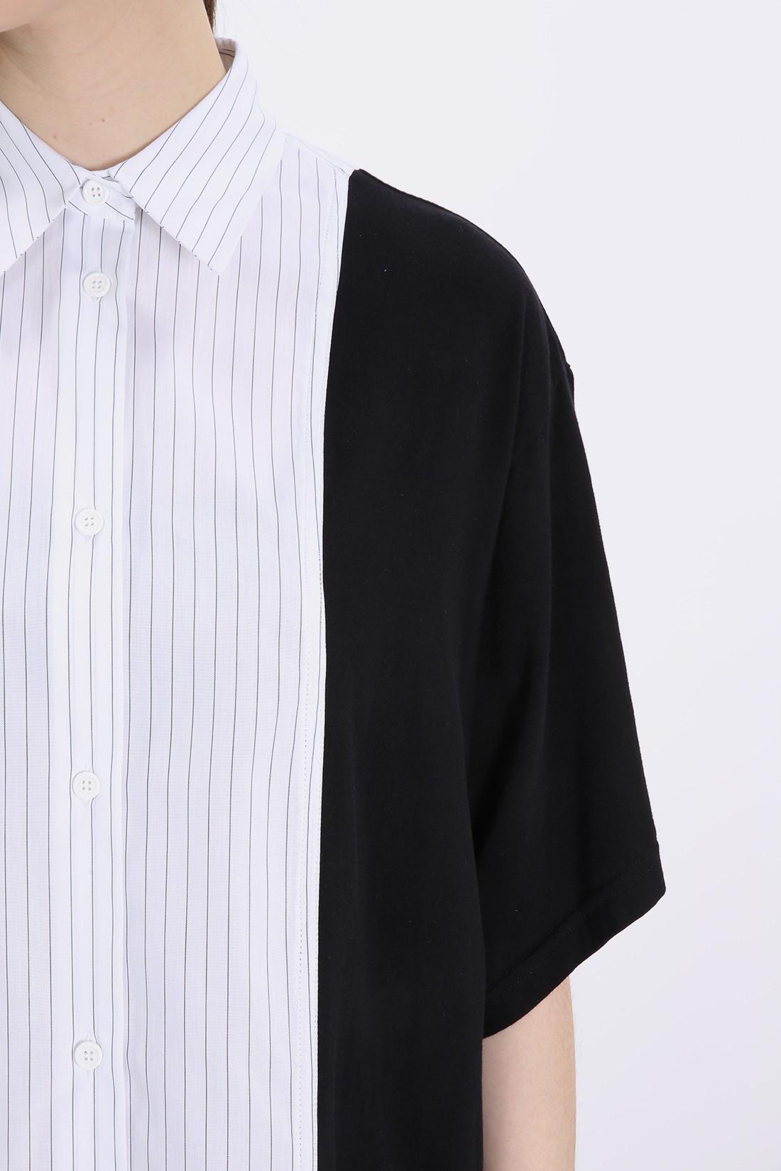 Striped short dress Black