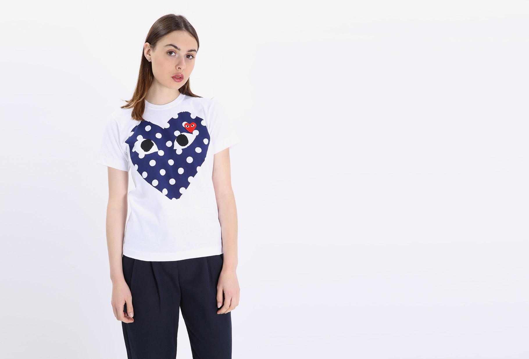 COMME DES GARÇONS PLAY WOMAN / Play polka dot t-shirt White