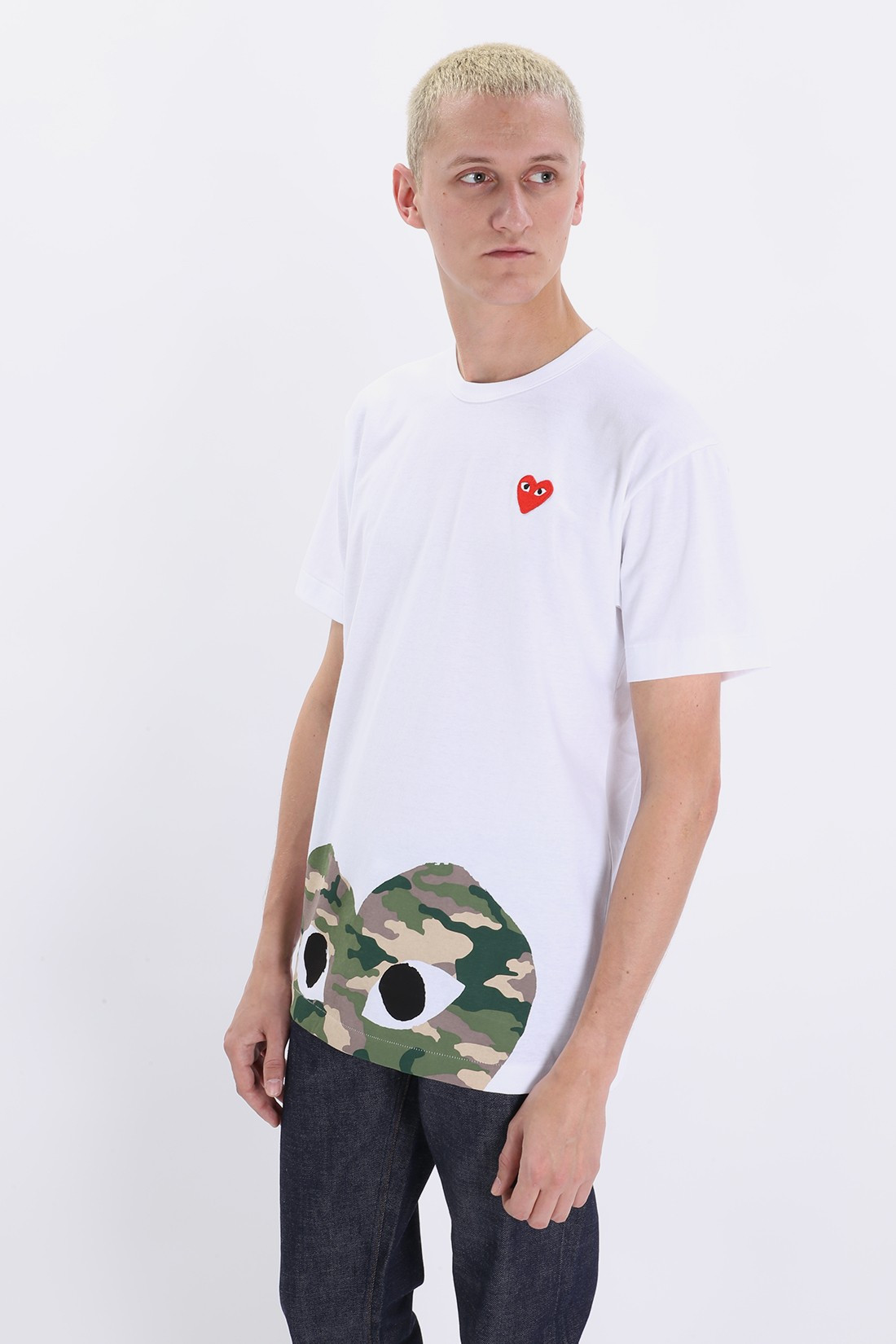 COMME DES GARÇONS PLAY / Play camouflage edge heart White
