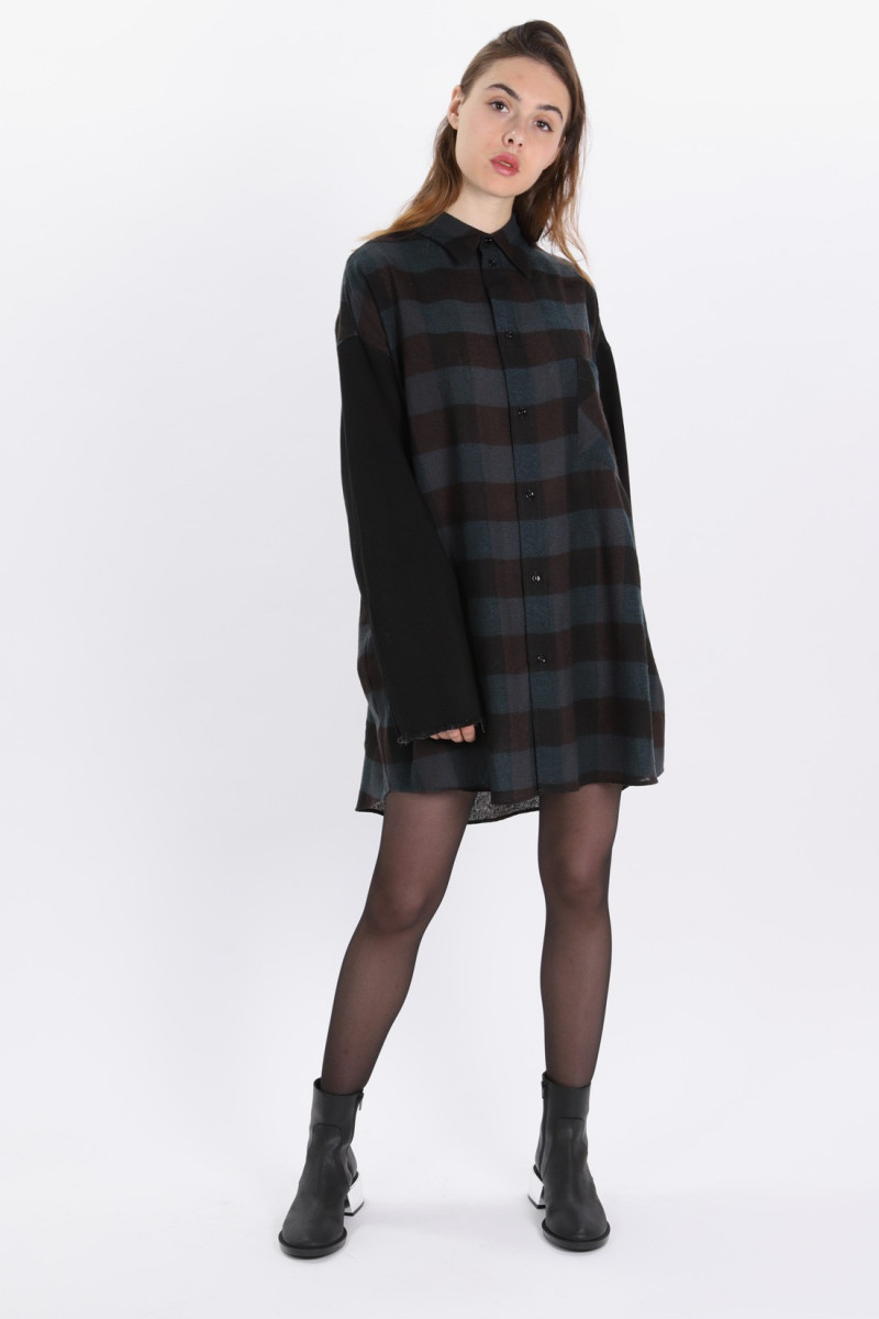 Wool shirt dress Green/black