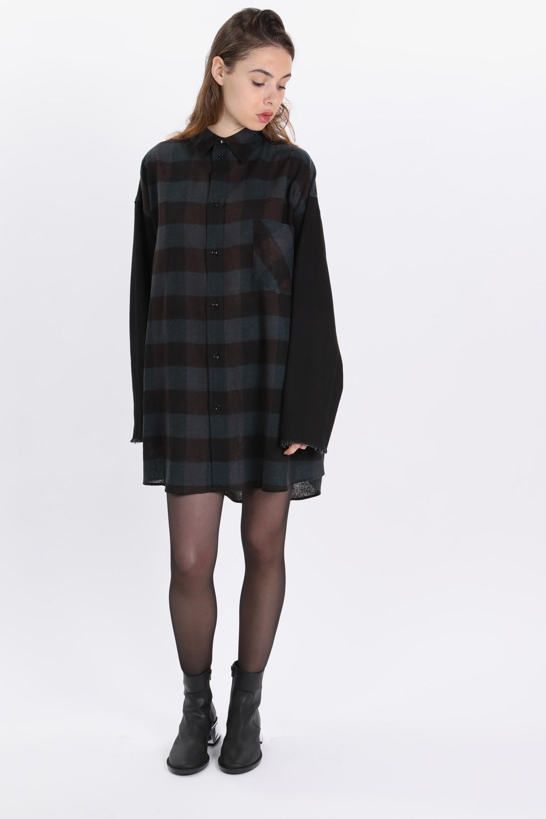 MM6 MAISON MARGIELA FOR WOMAN / Wool shirt dress Green/black