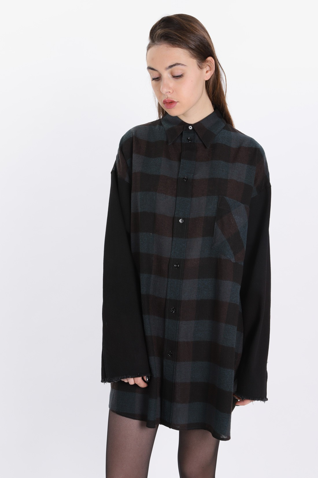 MM6 MAISON MARGIELA FOR WOMAN / Wool shirt dress Green/black