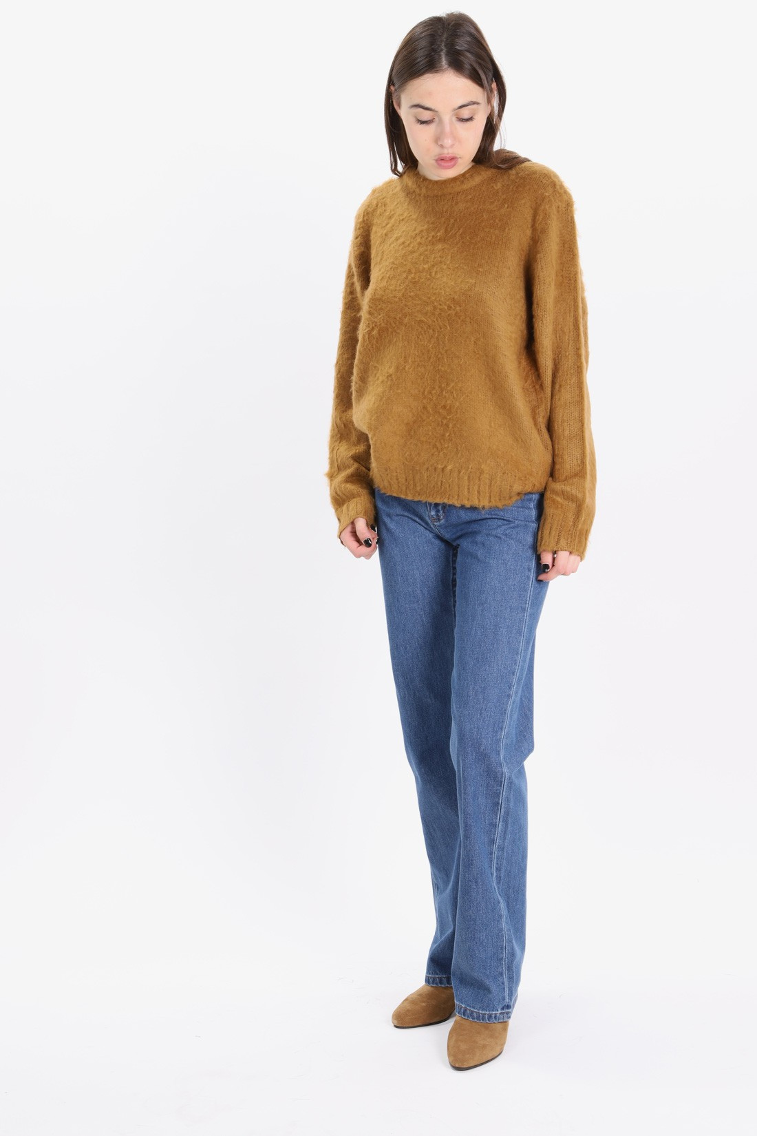 STUSSY FOR WOMAN / Vivian crew sweater Brown