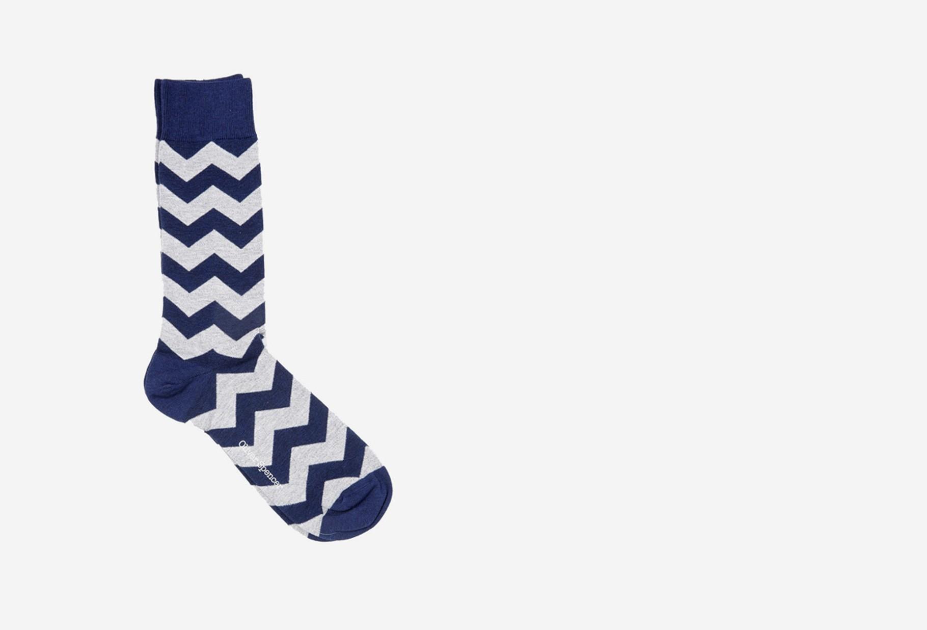 OLIVER SPENCER / Miller socks Navy grey
