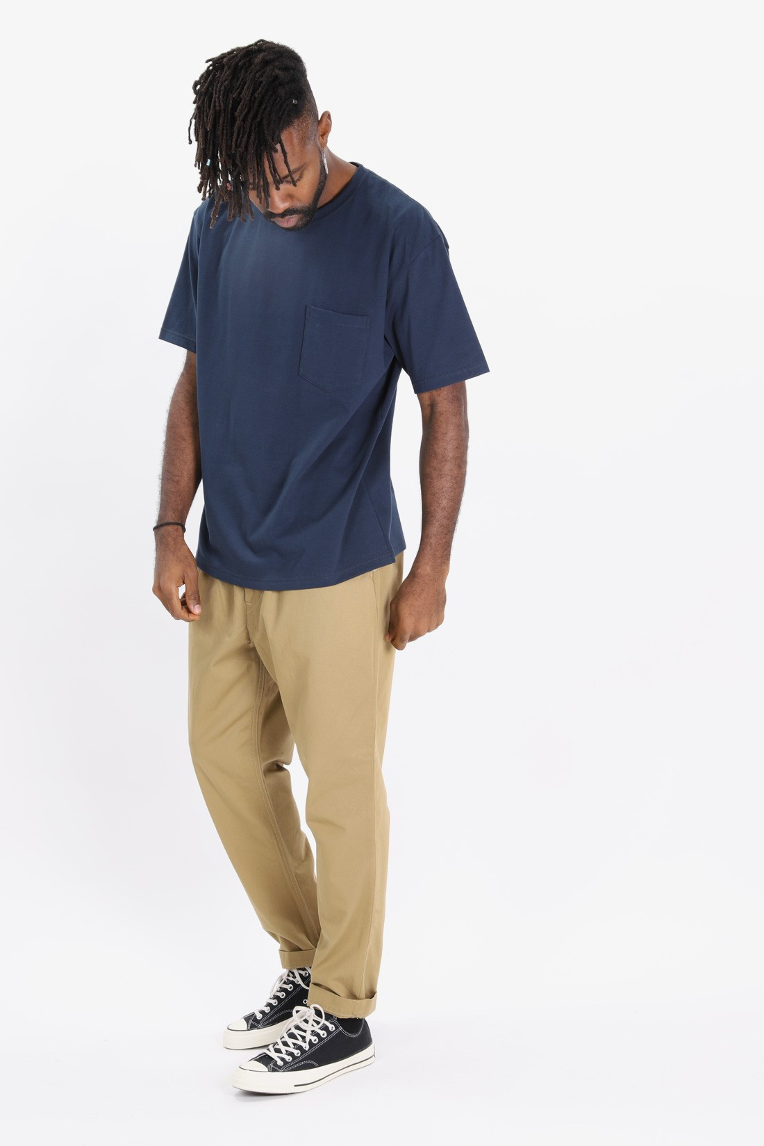 ORSLOW / Crew pocket tee Navy