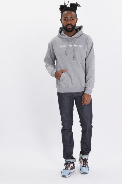 Logotype pullover hood Heather grey