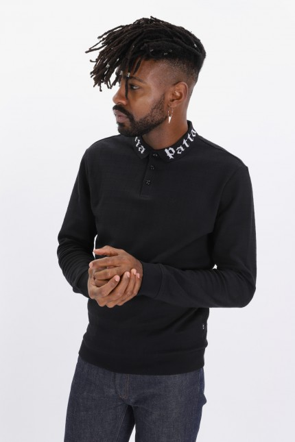 Collar crewneck sweater Black