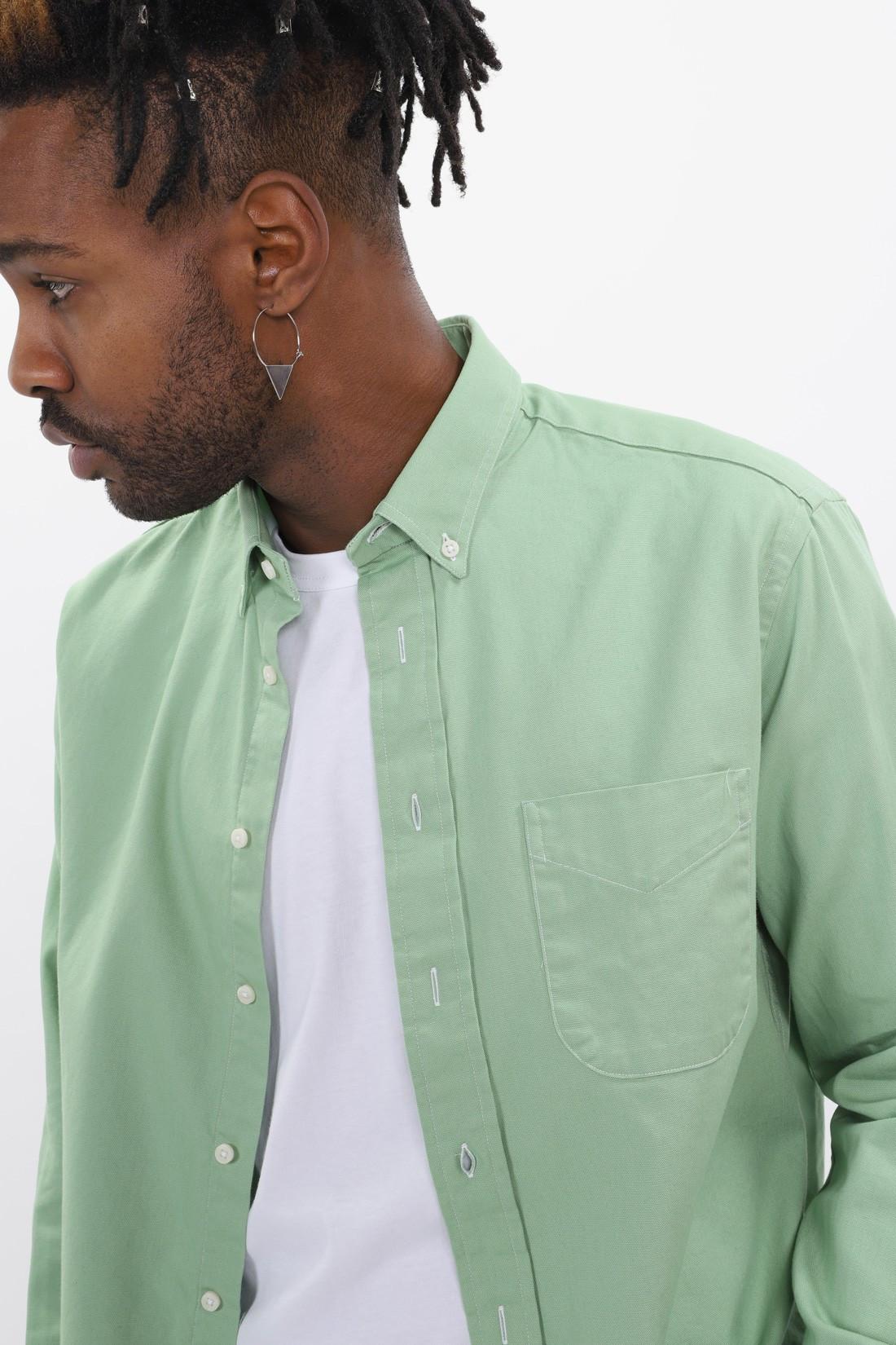 GITMAN / Oxford button down ls shirt Green
