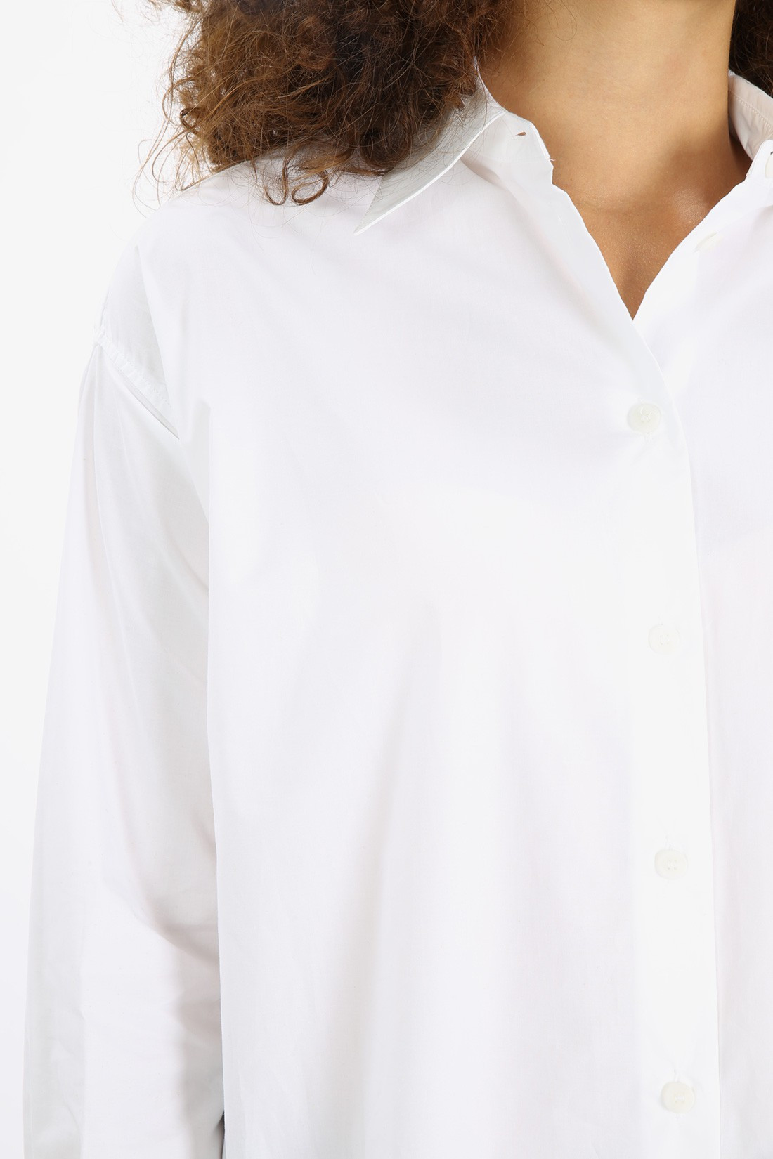 / Faux pearl embellished cotton White