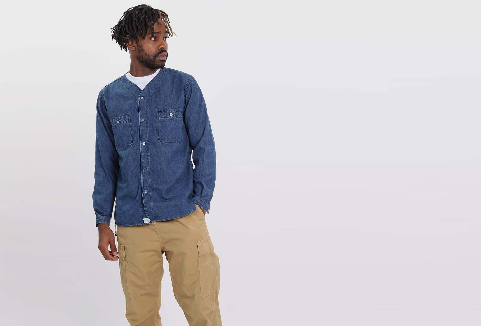 ORSLOW / No collar shirt Denim used