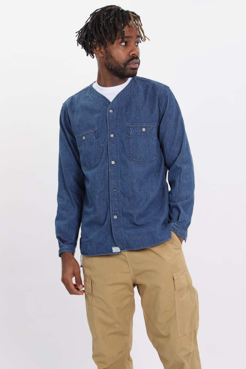 Used denim no collar shirt Indigo