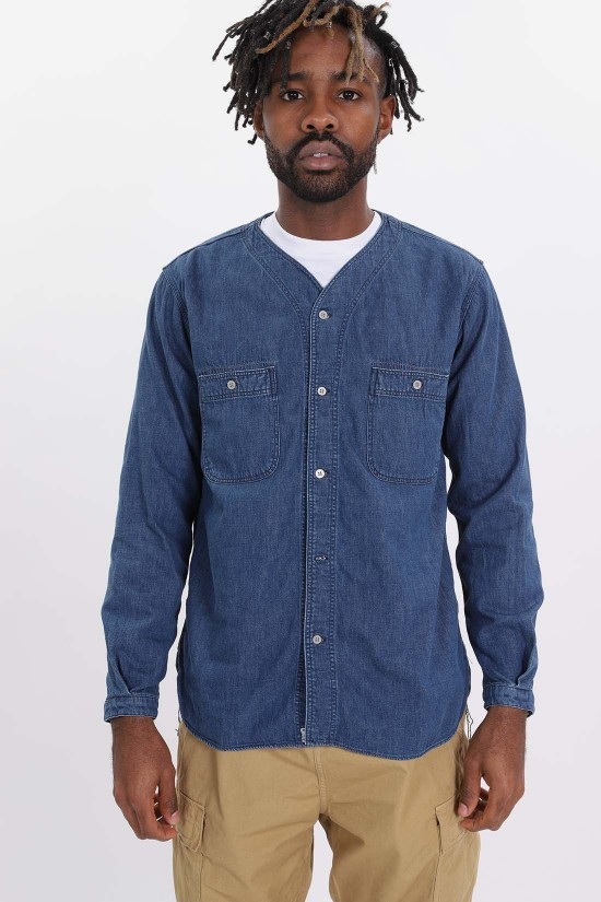 ORSLOW / Used denim no collar shirt Indigo