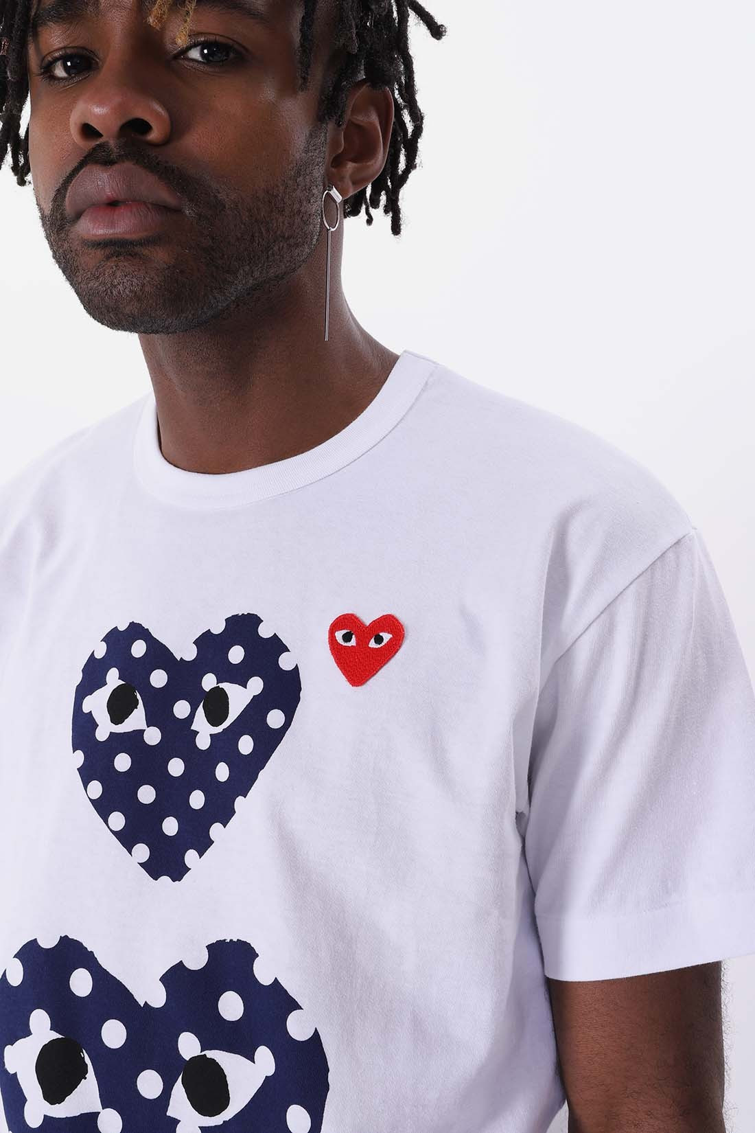 COMME DES GARÇONS PLAY / Play double heart polka dot White