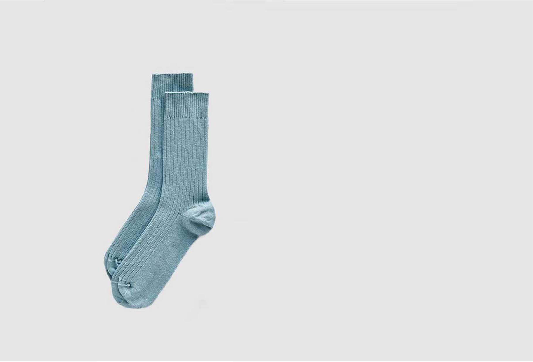 BASERANGE FOR WOMAN / Rib ankle socks Tempory blue