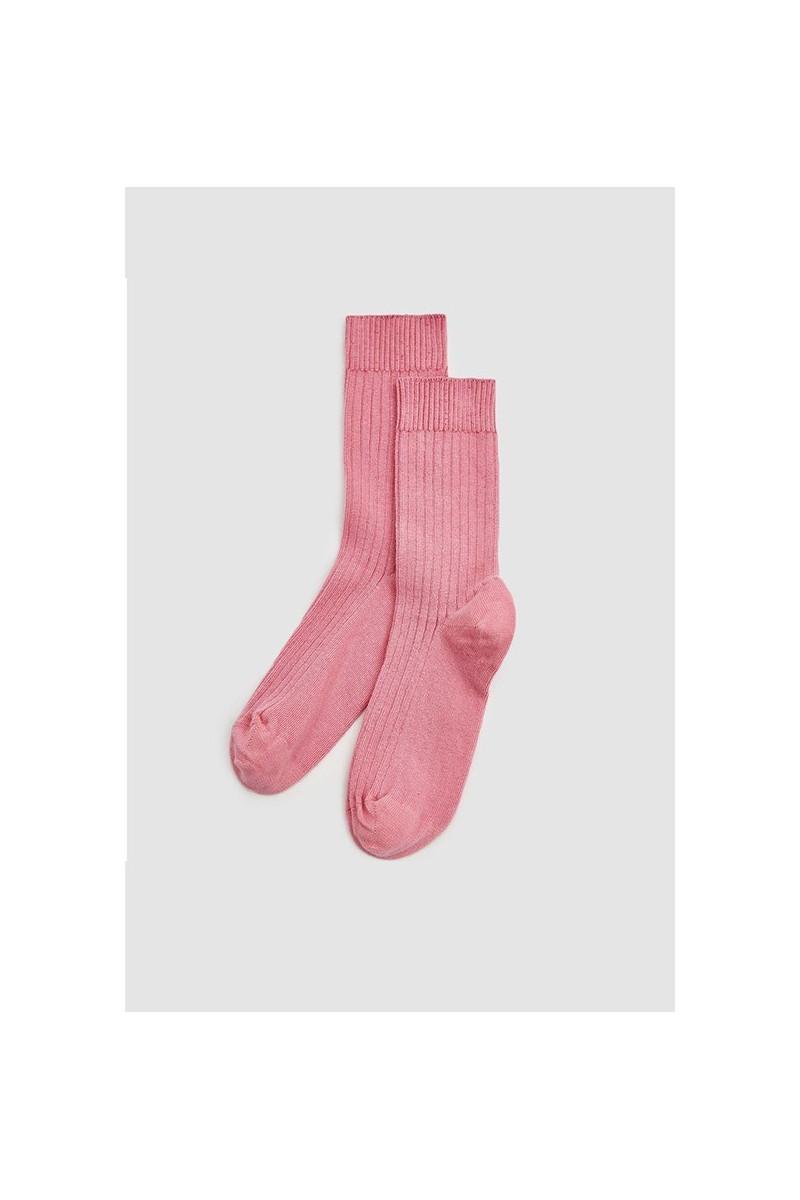 Rib ankle socks Calluna pink