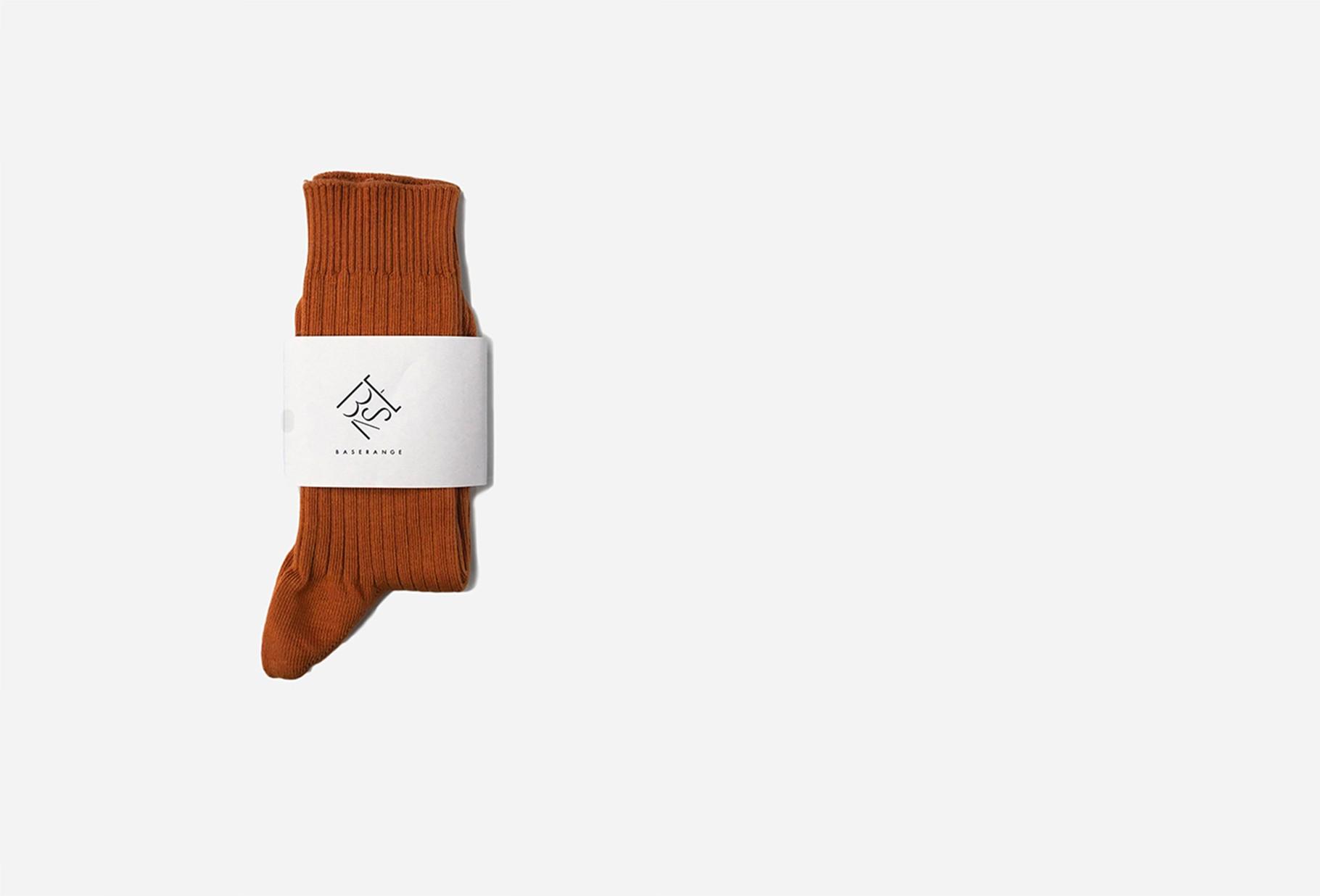 BASERANGE FOR WOMAN / Rib ankle socks Furano brown