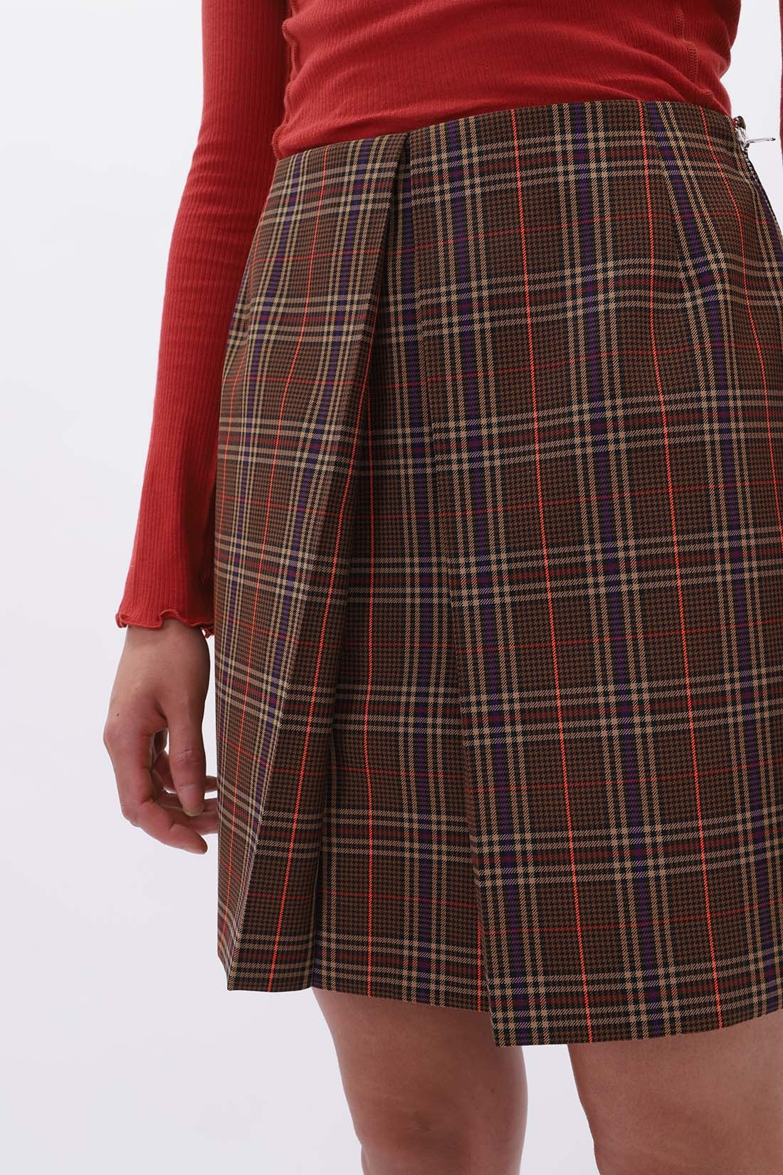 MM6 MAISON MARGIELA FOR WOMAN / Tartan skirt Brown