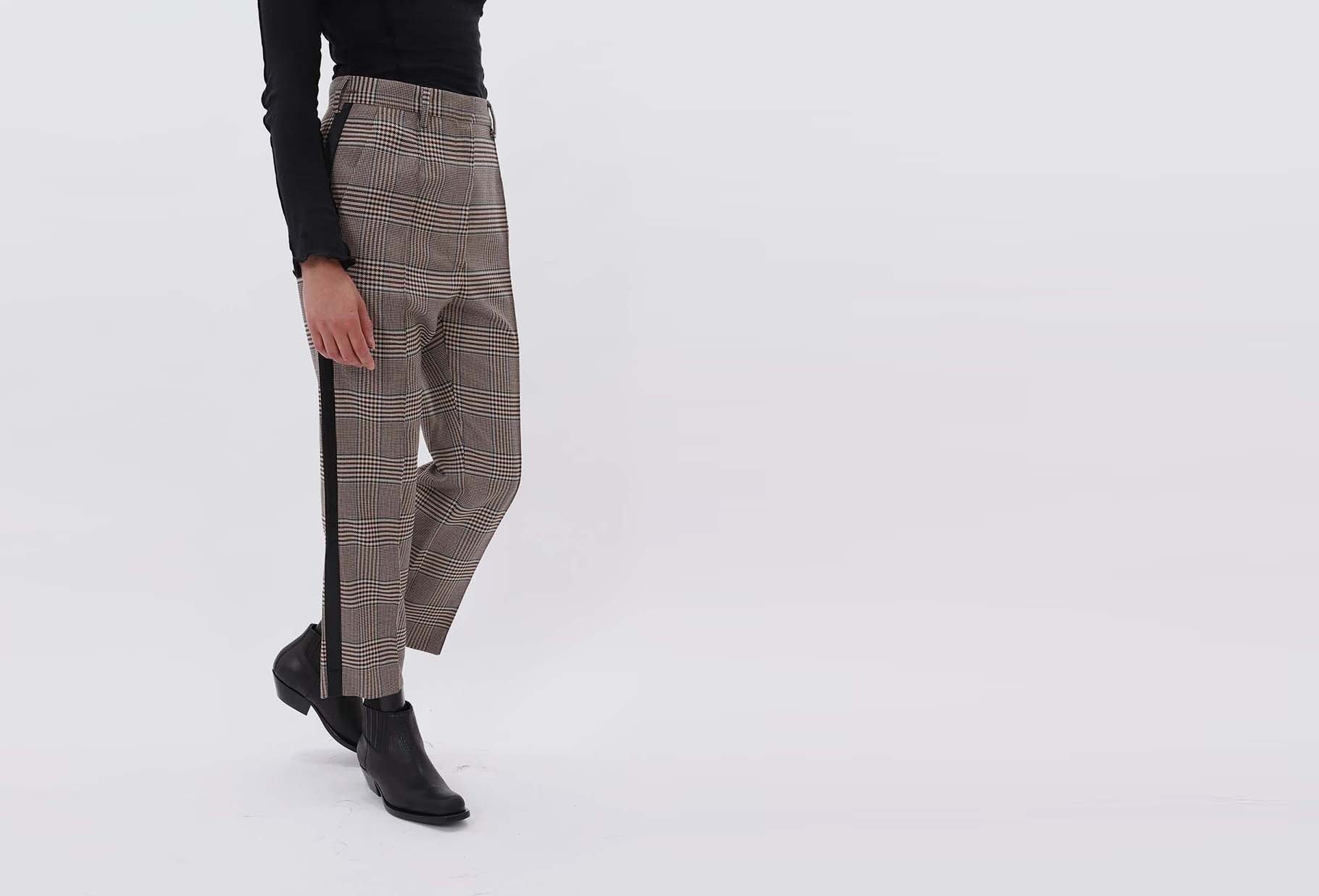 MM6 MAISON MARGIELA FOR WOMAN / Belted check trousers Beige