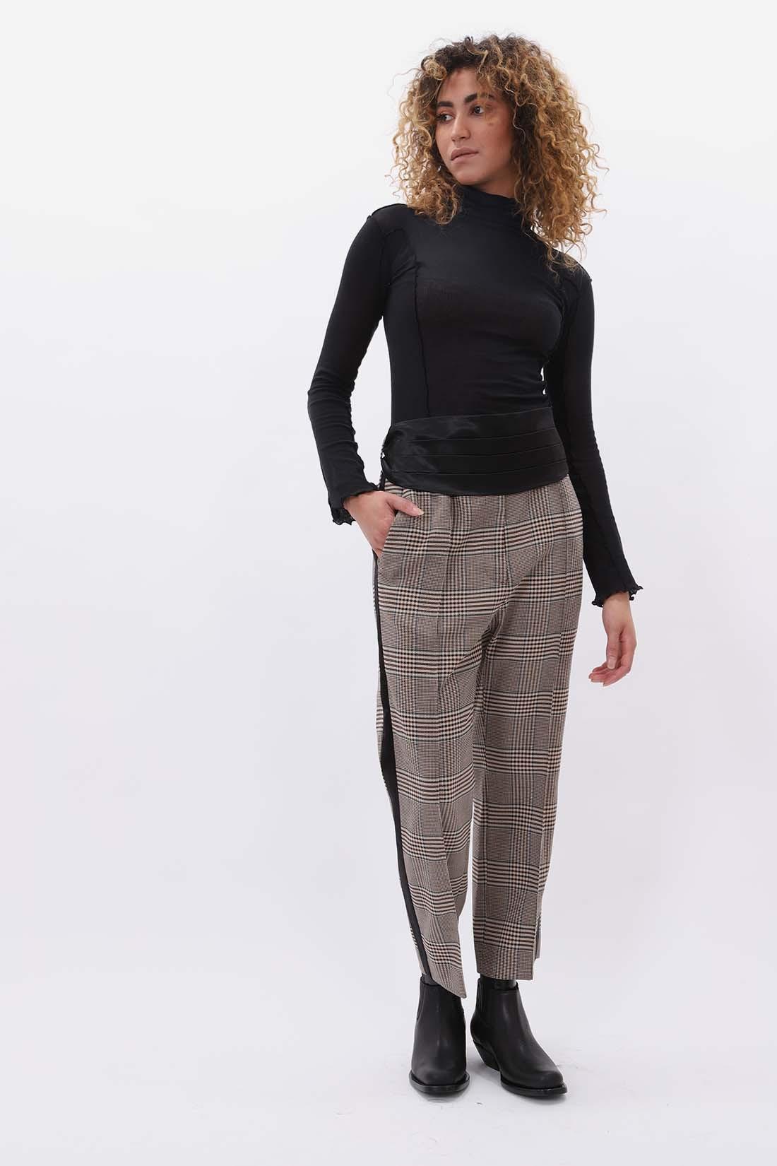 MM6 MAISON MARGIELA FOR WOMAN / Belt tartan trousers Beige