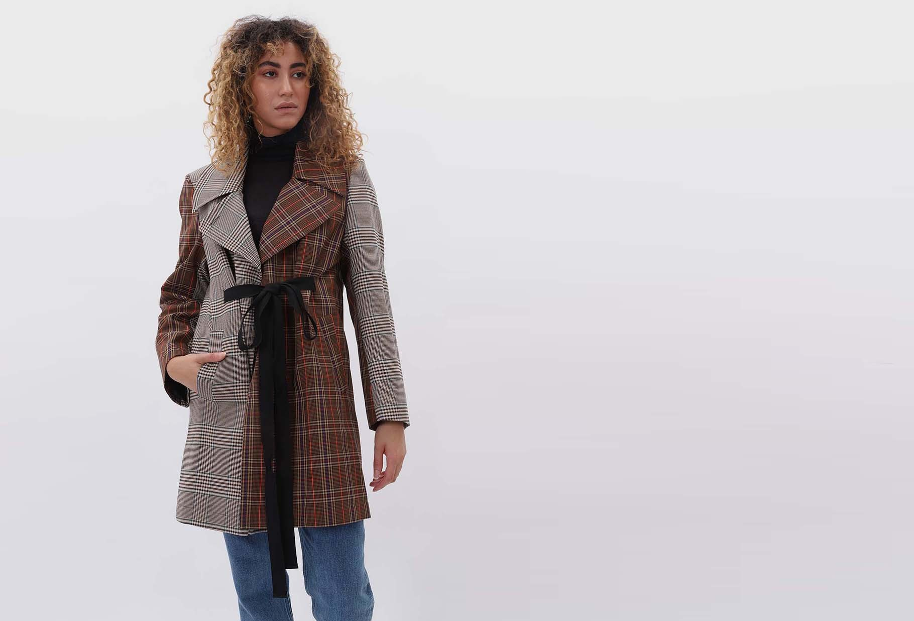 MM6 MAISON MARGIELA FOR WOMAN / Tweed patchwork coat Brown